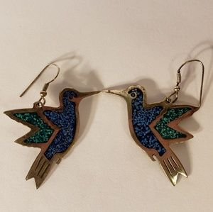 Vintage 1960s Turquoise Inlay Bird Earrings